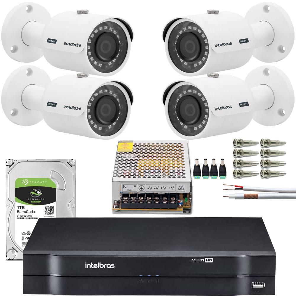 Kit Dvr de 4 canais com Hd de 1 tera mais 4 câmeras e instalação.